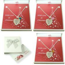 Collar con Piedra de Nacimiento Grabado, Personalizado Navidad Joyería Regalos