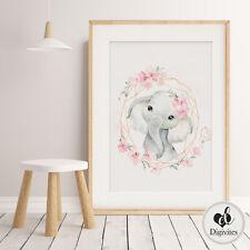 Baby, Girl Nursery Prints, Wall Art, Floral Boho animals, Personalised, Safari