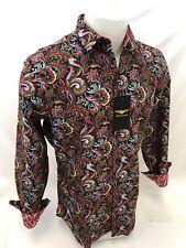 Mens PREMIERE Long Sleeve Button Down Dress Shirt RED PAISLEY DESIGNER 624 NEW