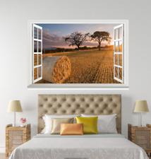 3D Haystack Sunset 155 Open Windows WallPaper Wandbilder Wall Print AJ Jenny