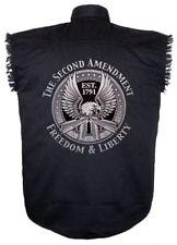 Mens Denim Sleeveless Biker Shirt W Second Amendment Silver Eagle Design