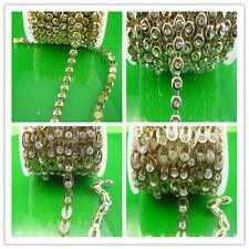 SS16 glass crystal 4mm rhinestone close gold chain trims costume Applique X