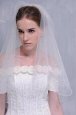 HBH Doppellagiger Brautschleier aus Tüll,mit Perlen bestickt, Länge:60cm/80cm