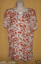 Michael Kors women's persimmon orange silver split dolman ss shirt top S $69.50