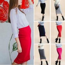 Women Midi Skirt Ladies Plain Stretchy Wiggle Pencil Tube Jersey Long Bodycon JJ