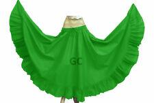 Emerald Green Cotton Gypsy Flamenco Skirt 12 Yard Belly Dance Boho Costume Jupe