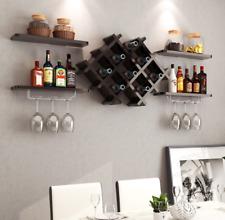 Wall Mount Wine Rack Bottle Glass Holder 4 Shelves Black Bar Accessories Shelf