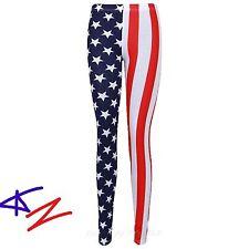 WOMEN'S AMERICAN FLAG STARS AND STRIPES FULL LENGTH LEGGINGS PLUS 8-26 HURRY UP