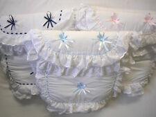 Baby Girls Boys Luxury Foot Muff Cosy Toe Pram Nest Ribbon Frilly Blue Pink Grey