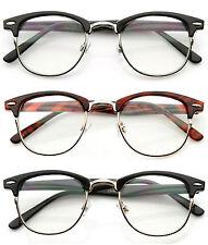 Optical Horned Rim Clear Lens Half Frame Club Master Glasses UV400 3 Colors