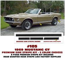 105 1969 FORD MUSTANG GT - LOWER ROCKER SIDE STRIPE KIT -  PREMIUM
