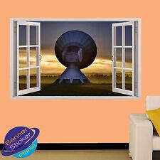 MASSIVE SATELLITE SIGNAL DISH 3D WINDOW WALL STICKER ROOM DECOR DECAL MURAL YK4