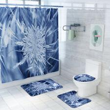 Bathroom Shower Curtain Ice Flower Print Non Slip Toilet Polyester Cover Set