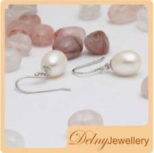 Brand New 925 Sterling Silver Freshwater Pearl Drop Hook Earrings Delny