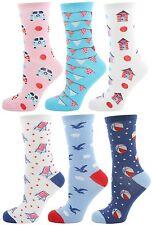 Zest 6 Pack Ladies Cotton Rich Assorted Design Socks