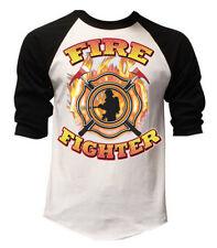Men's Firefighter White Baseball Raglan T Shirt Fire Rescue Dept Fighter Tee