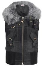 Girls Kids Body Warmer Faux Fur Trim Winter Wear Sleeveless Gilet Coat New Grey