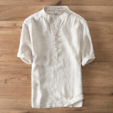 Pure Linen Shirts Men Pullover Short Sleeve Mandarin Collars Casual Shirt TS251