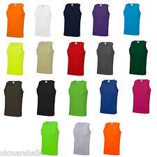Just Cool Gym Sports Vest  Plain Tank  Top Singlet - JC007 - 19 Colours - S-XXL