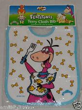 NEW 1994 THE FLINTSTONES  DINO BLUE TERRY CLOTH BABY BIB HANNA BARBERA #1