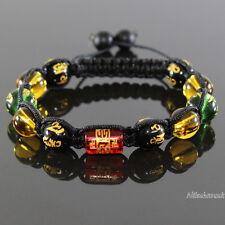 Energie Glücksbinger Shamballa Tibet Mantra Onyx Perle mit Gravur Armband