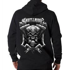 Shut Up & Ride Bikers Creed Skull Motorcycle Engine Hooded Sweatshirt Hoodie