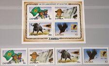ZAMBIA SAMBIA 1982 273-76 Block 11 268-271a Boy Scouts Pfadfinder Animals MNH