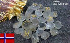 25pc Norse Crystal Quartz Gemstones Powerful Viking Rune Stones Set + Rune Chart