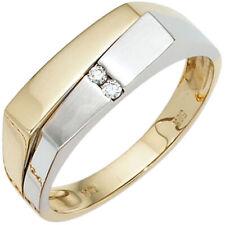 Anillo de hombre con 2 Diamantes Brillantes Oro 585 Blanco Amarillo
