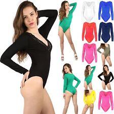 Womens Lace Trim Leotard Top Ladies V Plunge Neck Bodysuit Scallop Long Sleeve