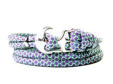 Ancla armband-paracord-verstellbar-wickelarmband-mint & Lilac diamantes