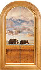 Sticker fenêtre vouté trompe l'oeil déco Eléphants réf 635