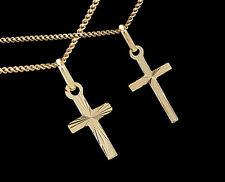 ECHT GOLD *** Kleiner Anhänger Kreuz diamantiert 18-20 mm, Double Kette optional