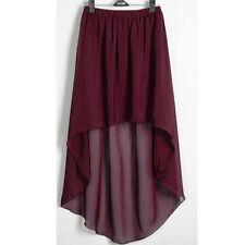 Maroon Chiffon Asym Skirts Women Lady Waist Maxi High Low Hem Asymmetric Dress