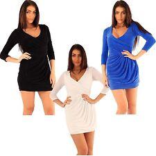 New Womens ¾ Sleeve Warp Front Sparkle Drape Dress 8-14