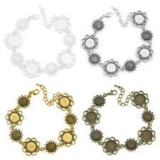12mm Round Bezel Bracelet Blanks Forms fit 12mm Round Cabochons 5 PCS M153