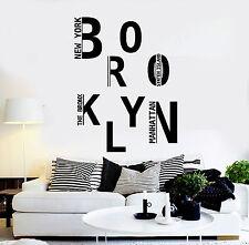 Vinyl Wall Decal Brooklyn New York USA Art Stickers Mural (ig4344)