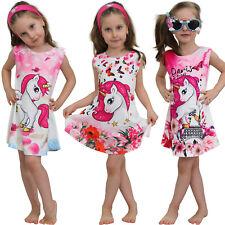Einhorn Mädchen Kinder Sommer Kleid mit Motiv Unicorn Pferd Paris Katze Strand