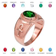 10K Rose Gold Egyptian Ankh Cross Birthstone CZ Ring