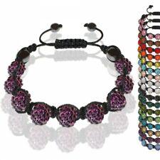 Straß Armband Glitzer Glücksbringer mit 9 Kristall Kugeln einfarbig rot pink