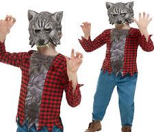 Kids Deluxe Werewolf Costume Boys Halloween Fancy Dress + Mask Age 4-12