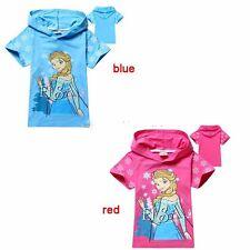Frozen Elsa & Anna Princess Girls Tops T-shirt Hoodie girls summer
