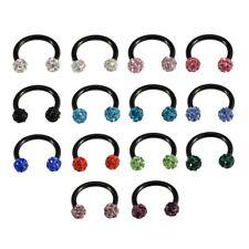 BLACK Shamballa Ferido Multi Crystal Gem Horseshoe Bar Lip Nose Septum Ear Ring