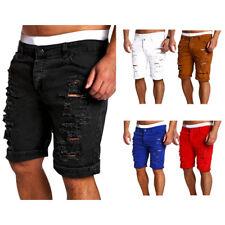 Men's Skinny Runway Straight Short Denim Pants Destroyed Ripped Jeans Shorts