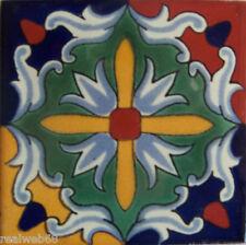 "C235- Mexican Handmade Talavera Clay Tile Folk Art 4x4""  Handpainted"