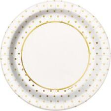 Gold Polka Dot 23cm Paper Party Plates | Wedding | Anniversary | Buffet Food