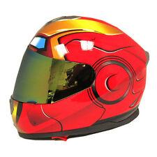 Iron Man Motorcycle Bike Dual Visor DOT Full Face Helmet Golden Red S M L XL XXL