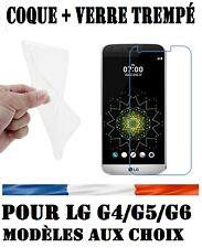 POUR LG G4/G5/G6 HOUSSE COQUE SILICONE + FILM PROTECTION VITRE VERRE TREMPE