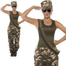 Ladies Army Girl Costume Camo Khaki Soldier Uniform Fancy Dress Womens UK 8-18