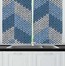 "Blue Kitchen Curtains 2 Panel Set Home Decor Window Drapes 55"" x 39"" Ambesonne"